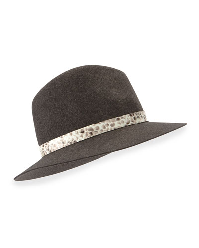 Floppy-Brim Wool Fedora, Charcoal