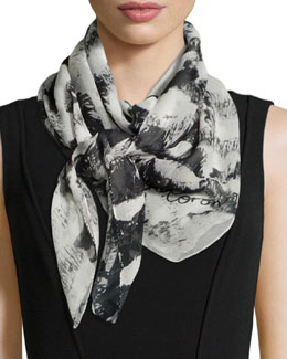 Kisses Classic Chiffon Square Scarf, Black