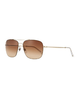 Wire-Rim Square Sunglasses