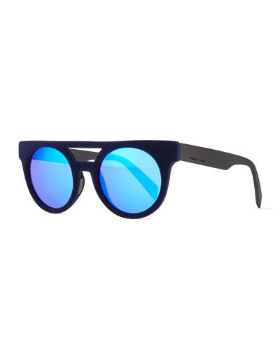 Velvet Brow-Bar Mirrored Sunglasses