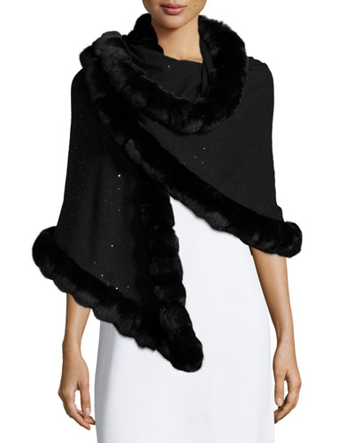 Fur-Trim Cashmere Evening Shawl, Black