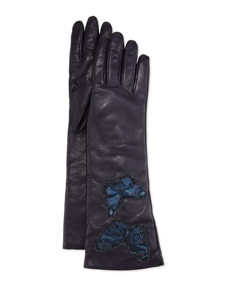 Napa Leather Butterfly Embroidered Gloves, Marine