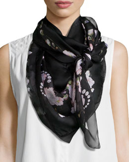 Baby's Breath Silk Scarf, Black/Pink