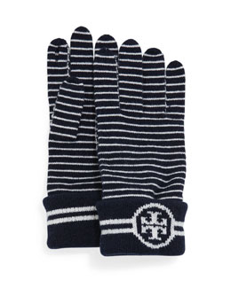 Striped Wool Gloves with Logo