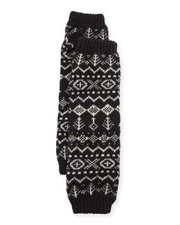 Scandinavian Cashmere Wrist Warmers, Black/White