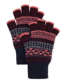 Tribal Fingerless Gloves, French Navy