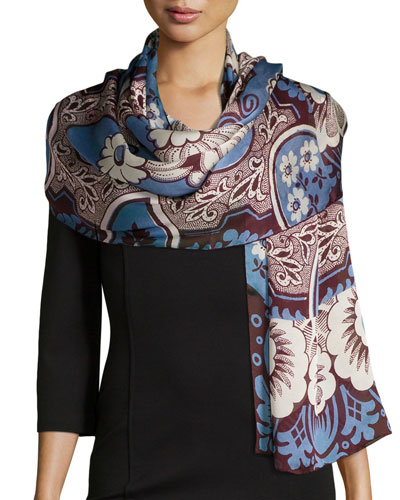Blossom Patch Silk Stole, Red/Blue