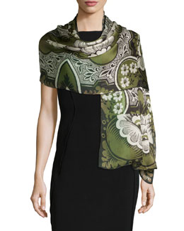 Blossom Patch Silk Stole, Black/Green