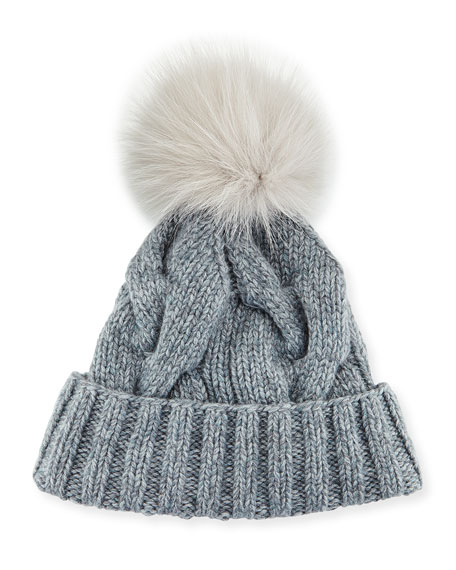 Cable-Knit Fur Pom-Pom Hat