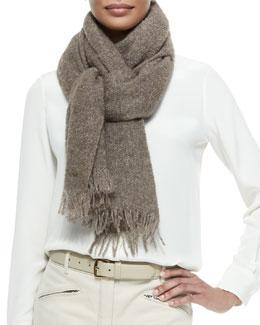 Alpaca-Silk-Blend Stole w/Fringe, Taupe