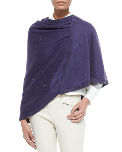 Semicircle Evening Crystal Suede-Trim Cashmere Stole