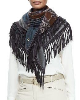 Cashmere Floral-Print Leather-Fringe Shawl