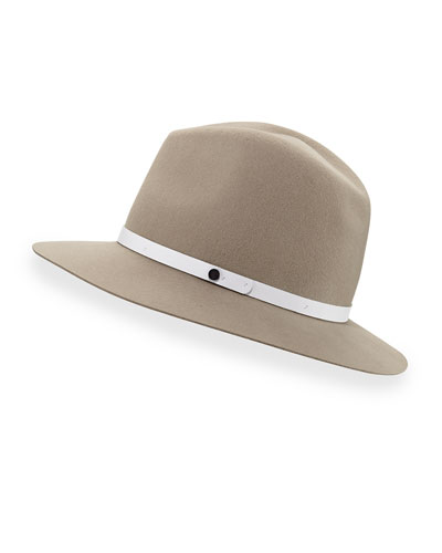 Floppy-Brim Wool Fedora Hat, Tan
