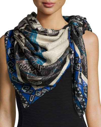 Bombay Framed Square Shawl, Blue