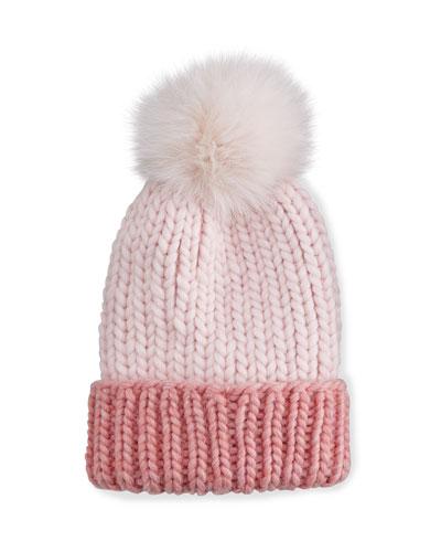 Rain Hat with Fur Pom Pom, Pink
