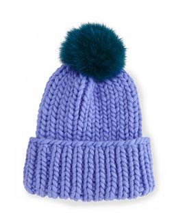 Rain Hat with Fur Pom Pom, Periwinkle/Teal