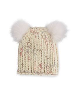 Mimi Knit Hat with Fur Pom Poms, Cream/Pink