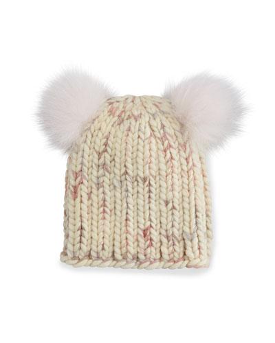 Mimi Knit Hat with Fur Pom Poms, Cream/Pink