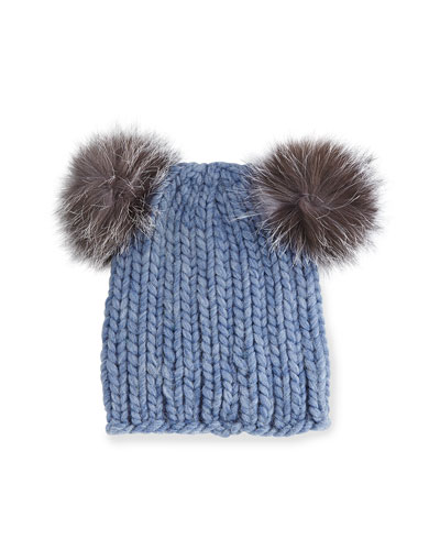 Mimi Knit Hat with Fur Pom Poms, Blue/Gray