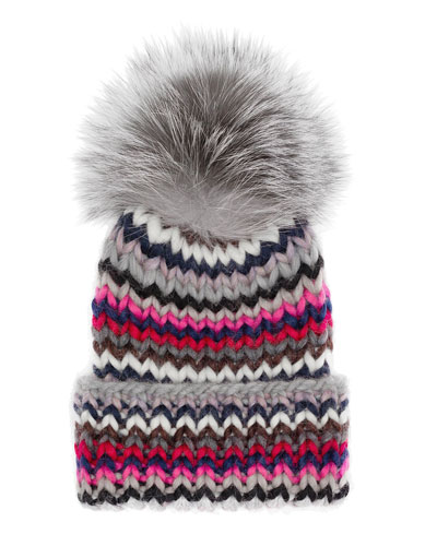 Rain Ribbed Beanie w/Fur Pom Pom, Red/Gray