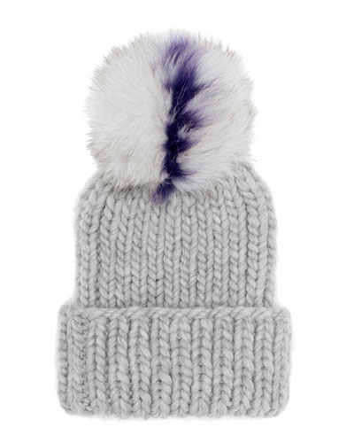 Rain Chunky Ribbed Beanie w/Fur Pom Pom, Gray/Purple
