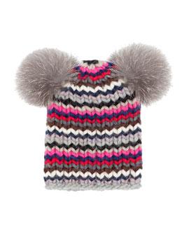 Mimi Chunky Knit Skullcap w/Fur Pom Poms