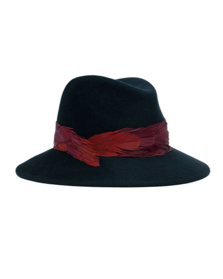 Bianca Fedora w/Feather Band