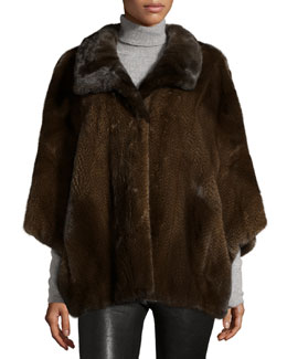 Knit Mink Fur Cape, Brown