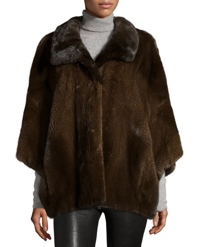 Knit Mink Fur Cape, Brown