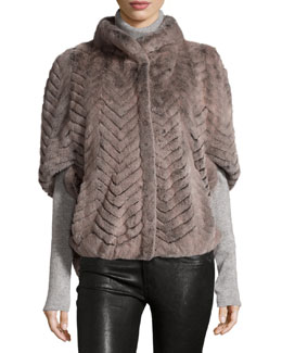 Mink Fur Chevron Cape, Taupe