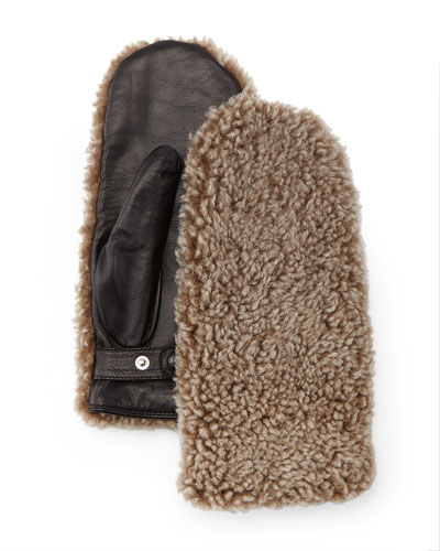 Shearling Fur Mittens, Natural
