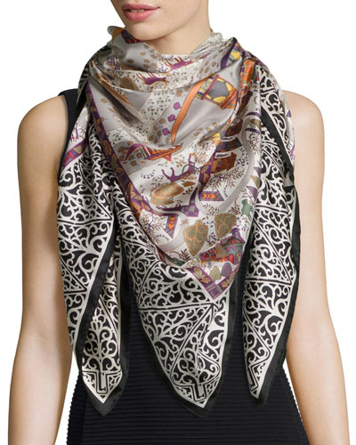Impero-Print Large Square Scarf, Black