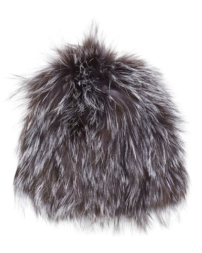 Knit Fox Fur Beanie Hat, Natural