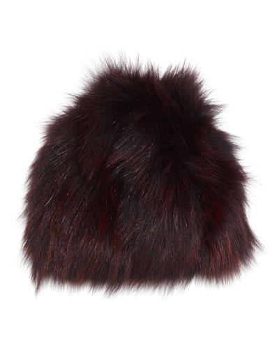 Knit Fox Fur Beanie Hat, Merlot