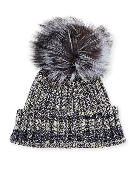 Heather Knit Beanie Hat w/Fur Pom Pom