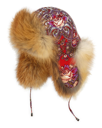 Paisley/Floral Trapper Hat w/Fox Trim