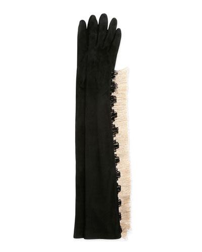 Long Gloves w/Fringe, Black
