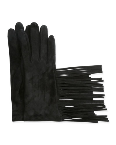Suede Gloves w/Fringe, Black
