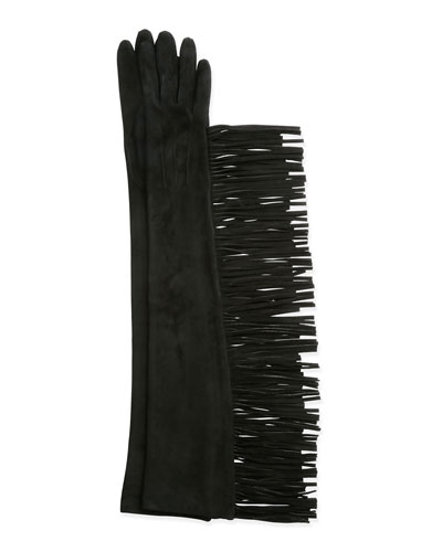 Long Suede Gloves w/Fringe, Black