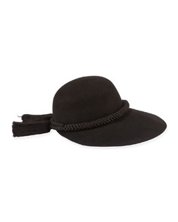 Long-Brim Hat w/Tassels, Black