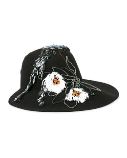 Floral-Embroidered Hat, Black