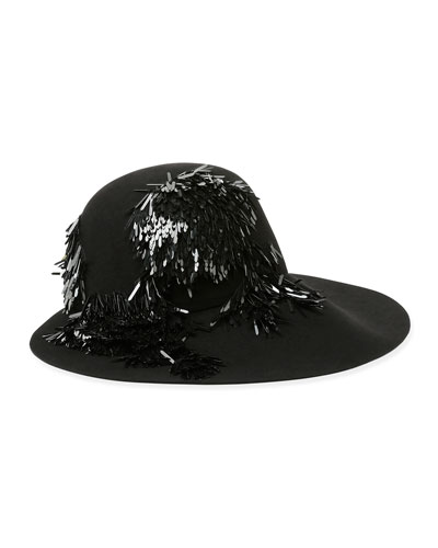 Fringe-Bead Embroidered Felt Hat, Black