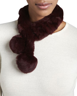 Rabbit Fur Neck Warmer, Wine
