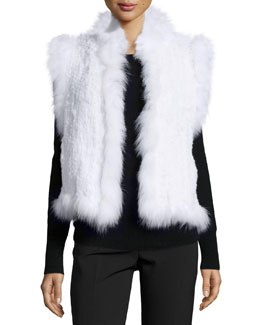 Knitted Rabbit Fur Vest w/Fox Fur Trim