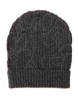 Monili Flower Beaded Beanie, Dark Gray