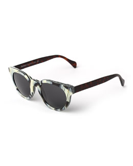 Greenport Round Sunglasses, Black/White
