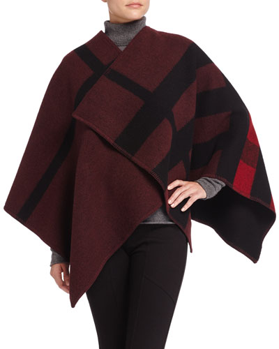 Mega Check Wool-Blend Cape, Red/Black