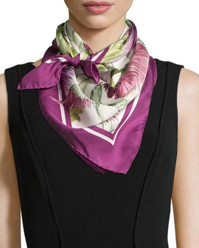 Cardum Floral/Bird-Print Square Scarf, Violet/Ivory