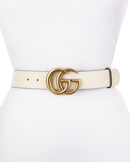 Leather Belt with GG Buckle