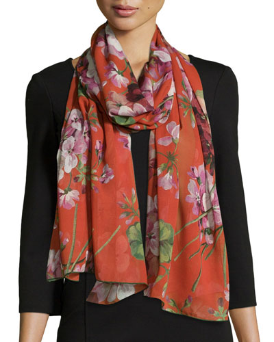 Gerall Floral-Print Georgette Stole, Red/Pink
